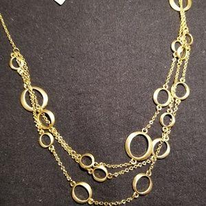 Golden ovals 3 strand necklace